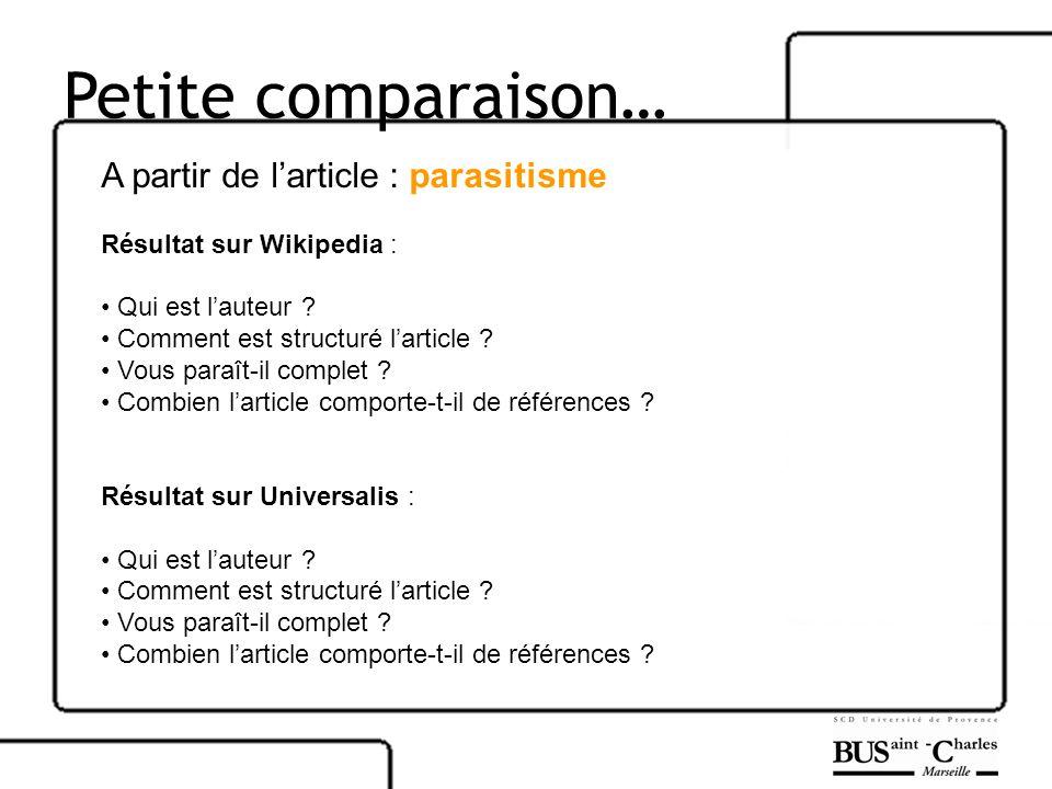 Petite comparaison… A partir de l'article : parasitisme