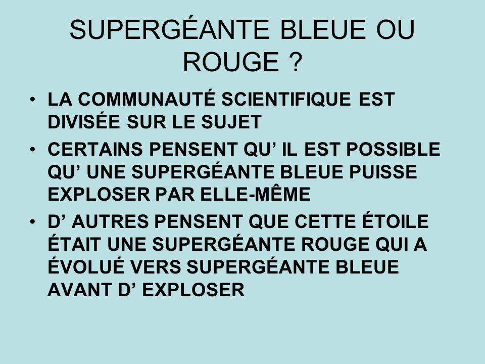 SUPERGÉANTE BLEUE OU ROUGE
