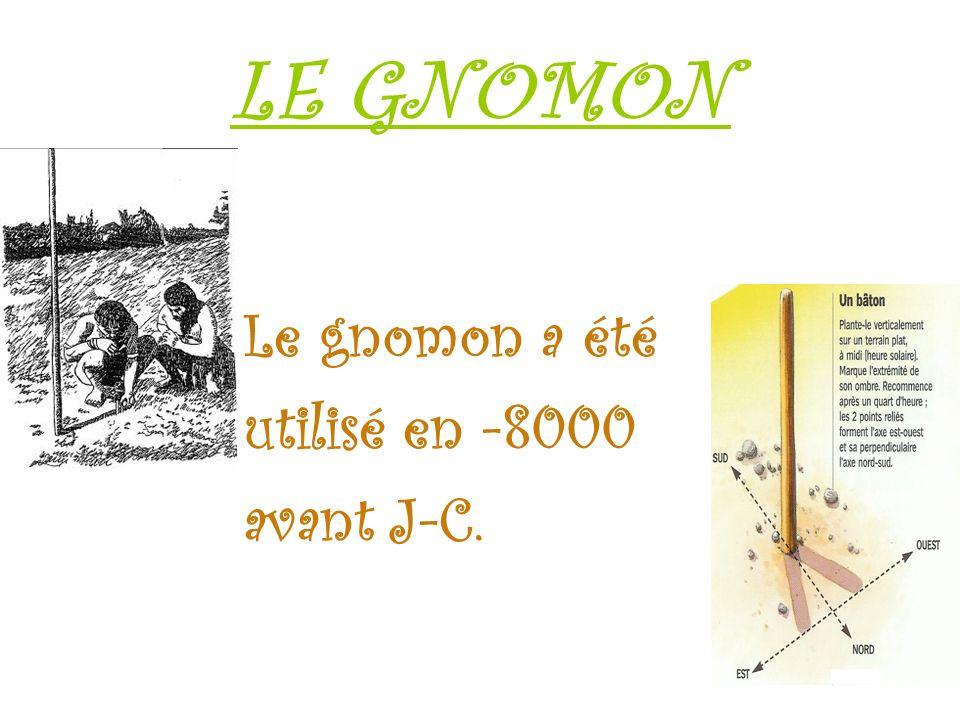 LE GNOMON Le gnomon a été utilisé en -8000 avant J-C.