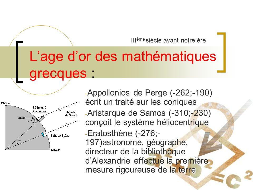 L'age d'or des mathématiques grecques :