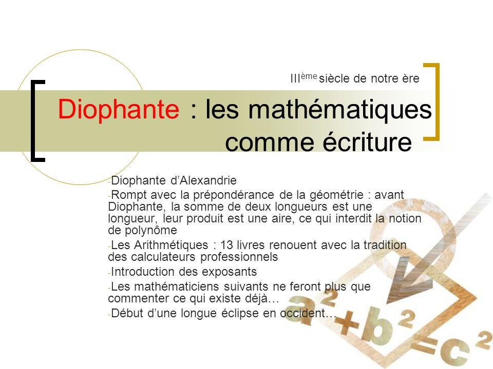 Diophante : les mathématiques comme écriture