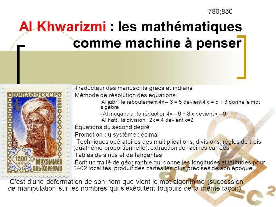Al Khwarizmi : les mathématiques comme machine à penser