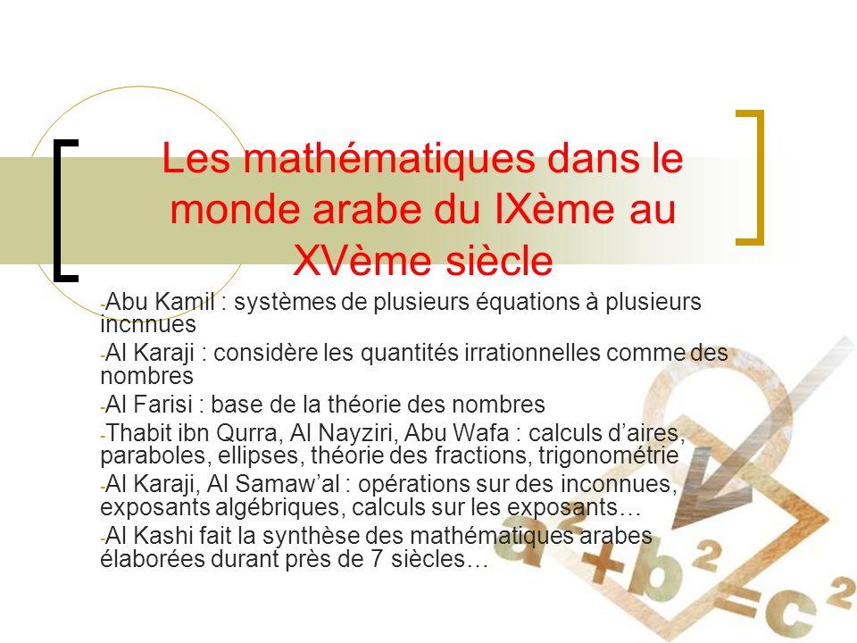 Les mathématiques dans le monde arabe du IXème au XVème siècle