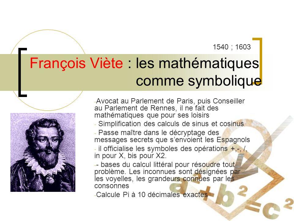 François Viète : les mathématiques comme symbolique