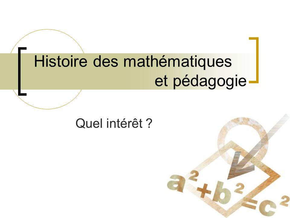Histoire des mathématiques et pédagogie