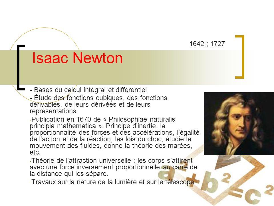 Isaac Newton 1642 ; 1727 - Bases du calcul intégral et différentiel