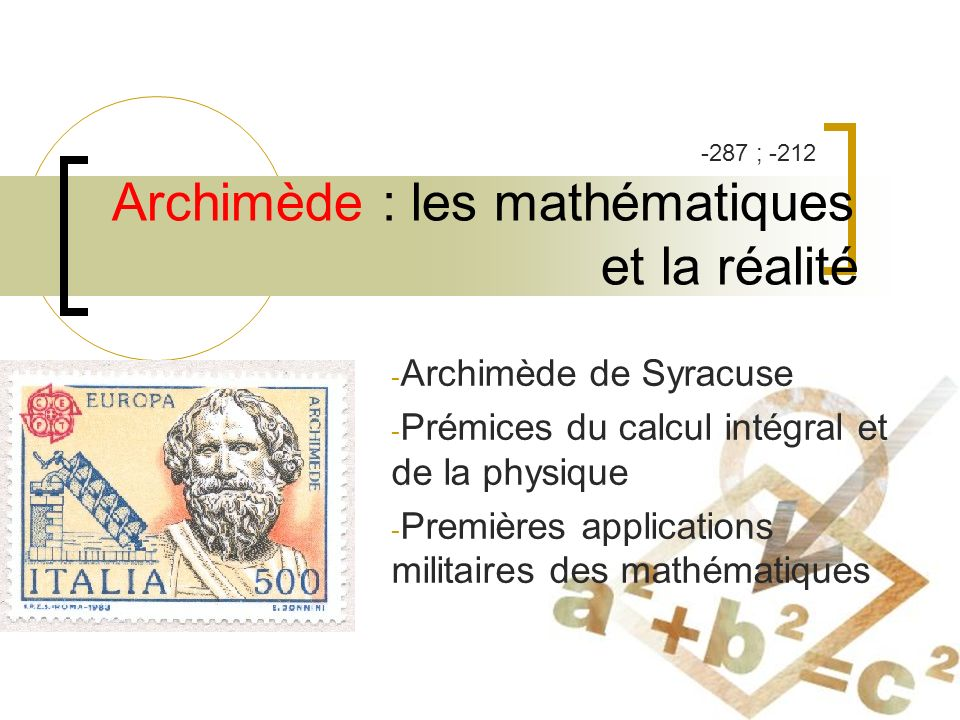 Archimède : les mathématiques et la réalité