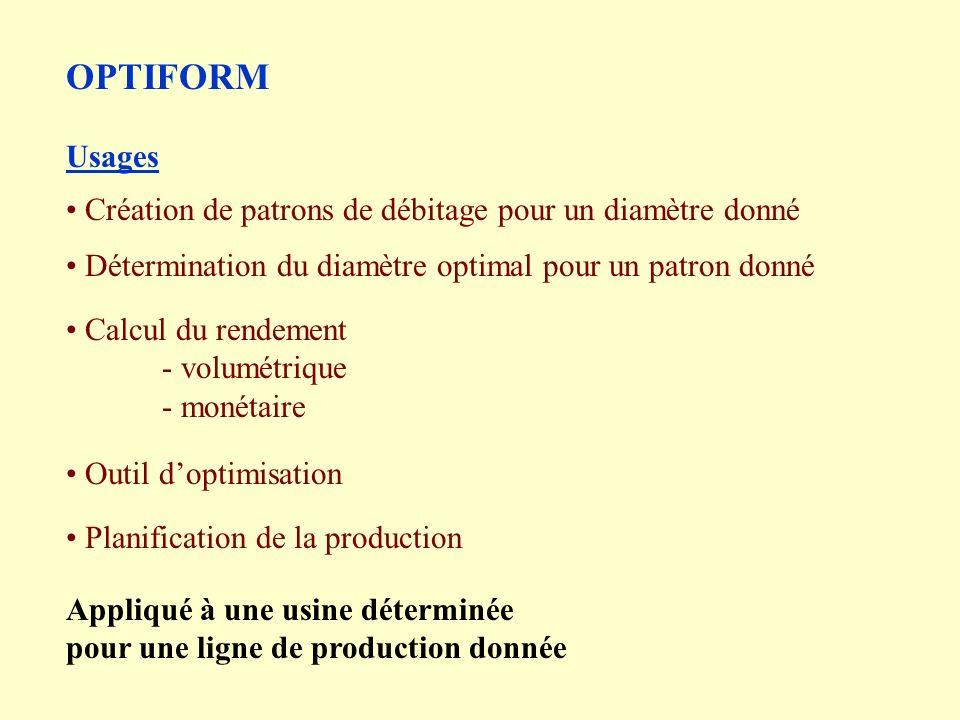 OPTIFORM Usages Création de patrons de débitage pour un diamètre donné
