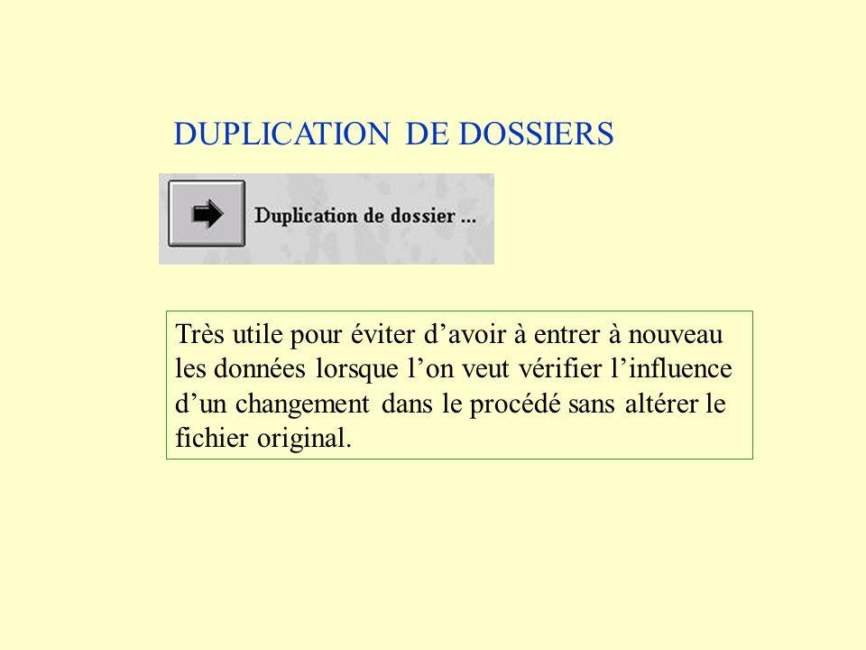 DUPLICATION DE DOSSIERS