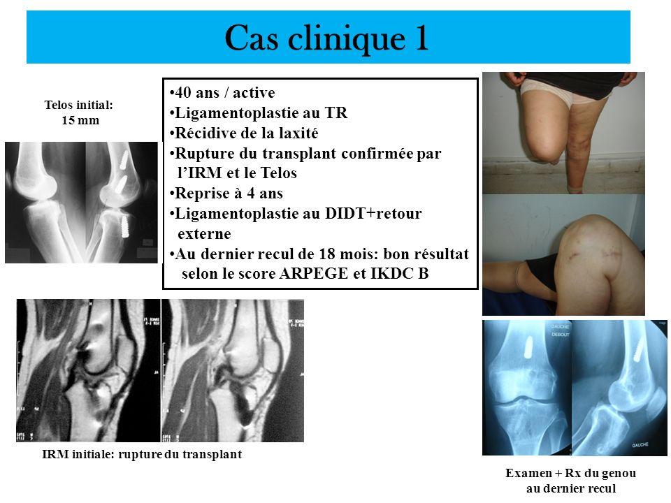 Cas clinique 1 40 ans / active Ligamentoplastie au TR