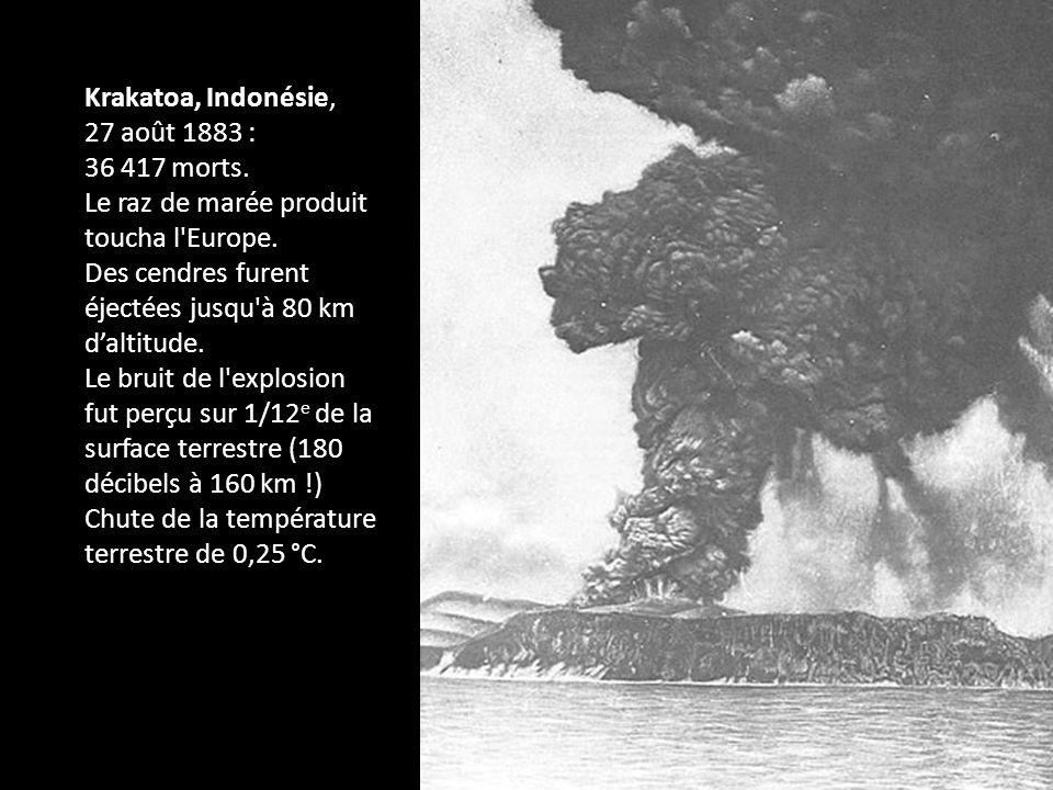 Krakatoa, Indonésie, 27 août 1883 : 36 417 morts. Le raz de marée produit toucha l Europe. Des cendres furent éjectées jusqu à 80 km d'altitude.