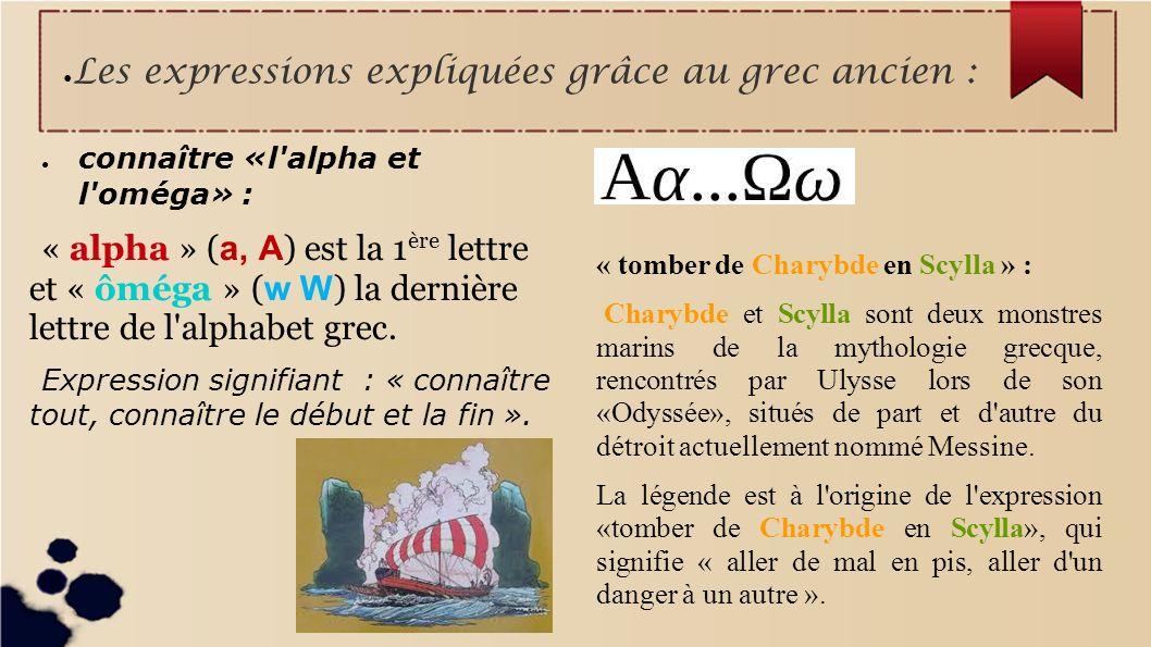 Les expressions expliquées grâce au grec ancien :