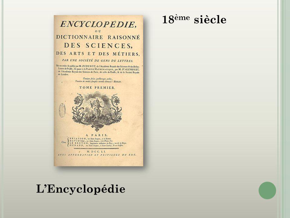 18ème siècle L'Encyclopédie