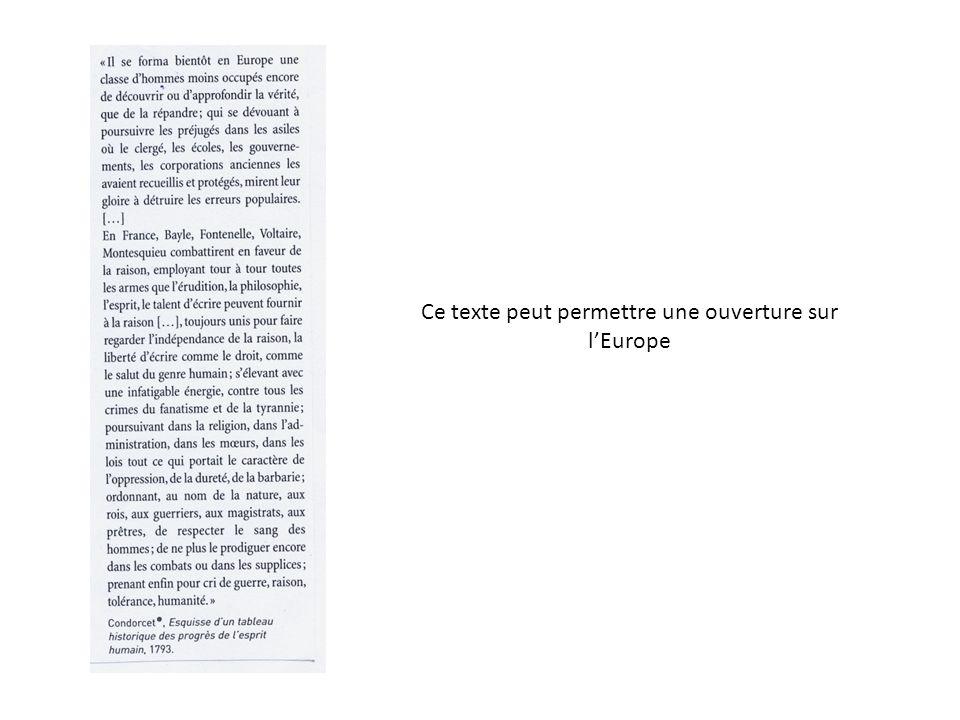 Ce texte peut permettre une ouverture sur l'Europe