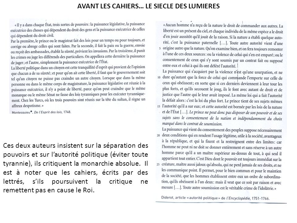 AVANT LES CAHIERS… LE SIECLE DES LUMIERES
