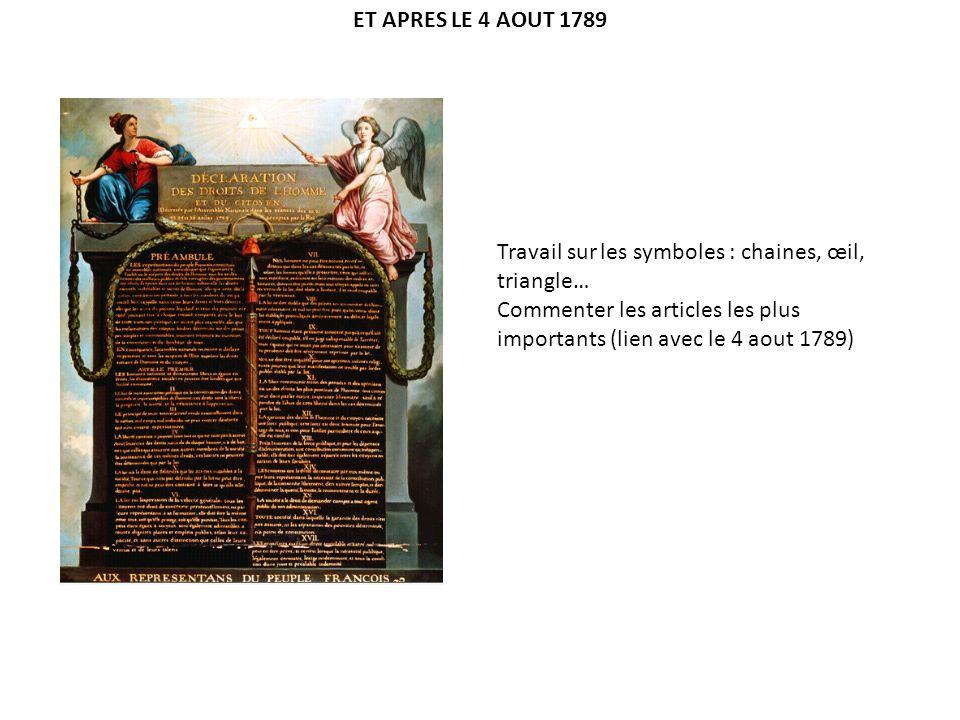 ET APRES LE 4 AOUT 1789 Travail sur les symboles : chaines, œil, triangle… Commenter les articles les plus importants (lien avec le 4 aout 1789)