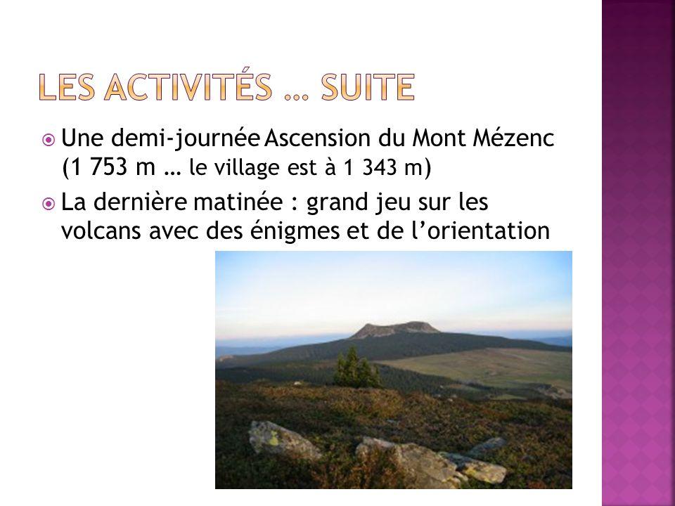 Les activités … suite Une demi-journée Ascension du Mont Mézenc (1 753 m … le village est à 1 343 m)