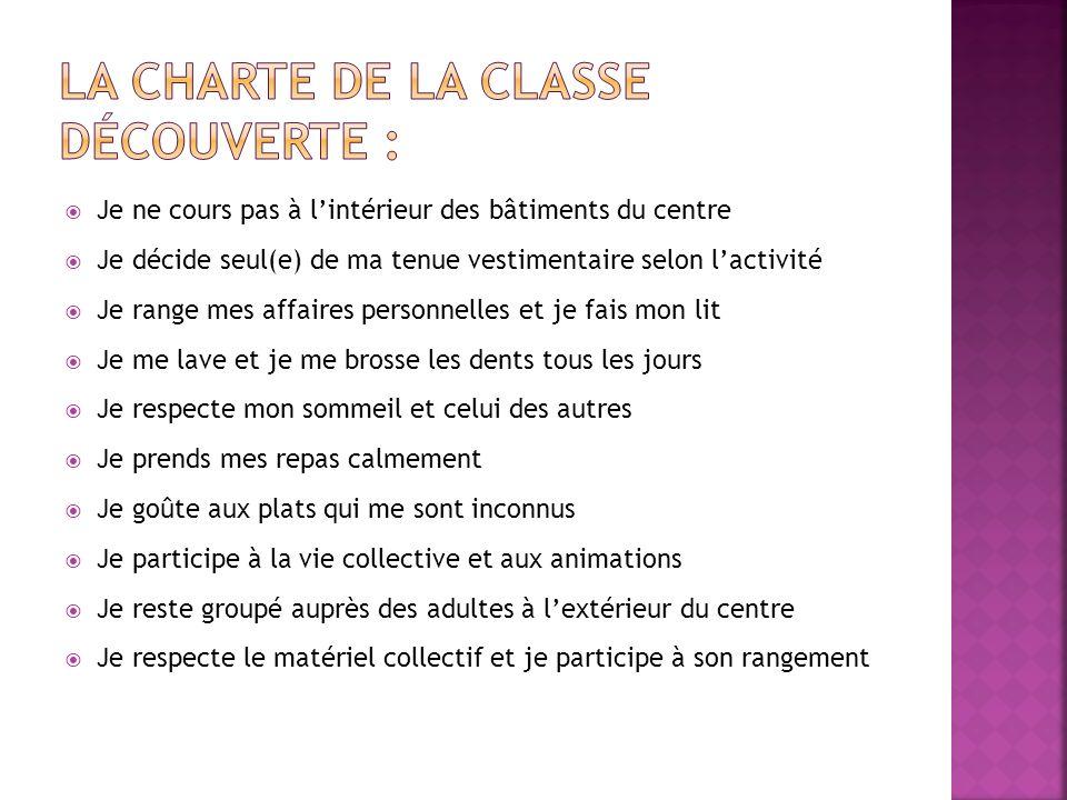 La charte de la classe découverte :