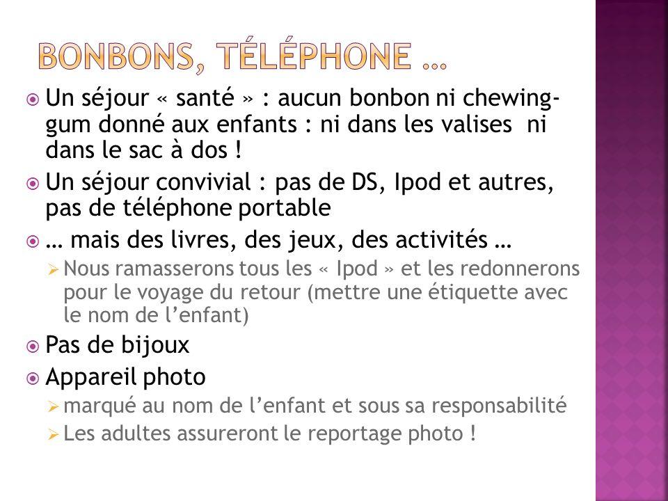 bonbons, téléphone … Un séjour « santé » : aucun bonbon ni chewing- gum donné aux enfants : ni dans les valises ni dans le sac à dos !