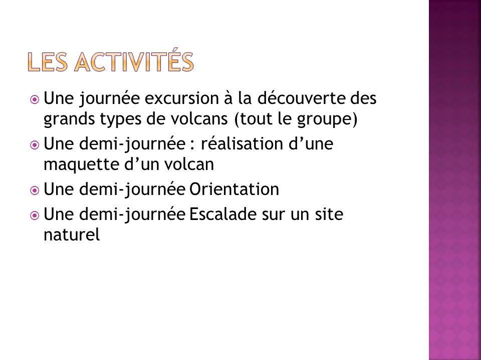 Les activités Une journée excursion à la découverte des grands types de volcans (tout le groupe)