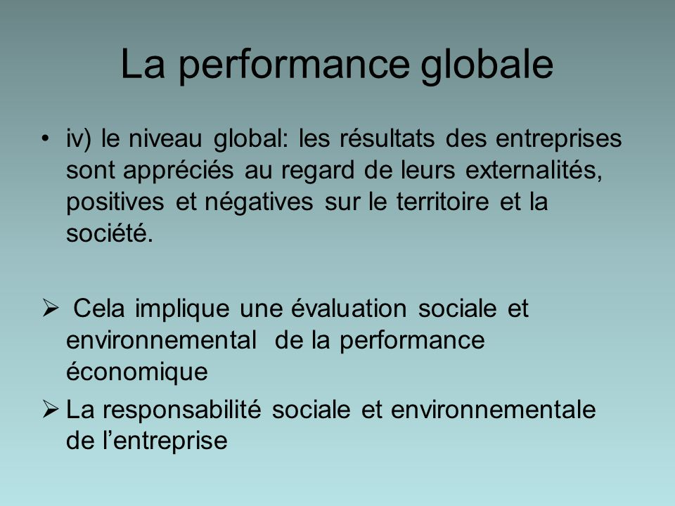 La performance globale