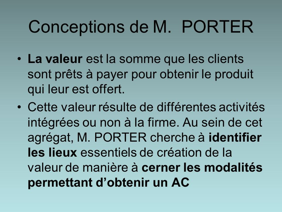 Conceptions de M. PORTER