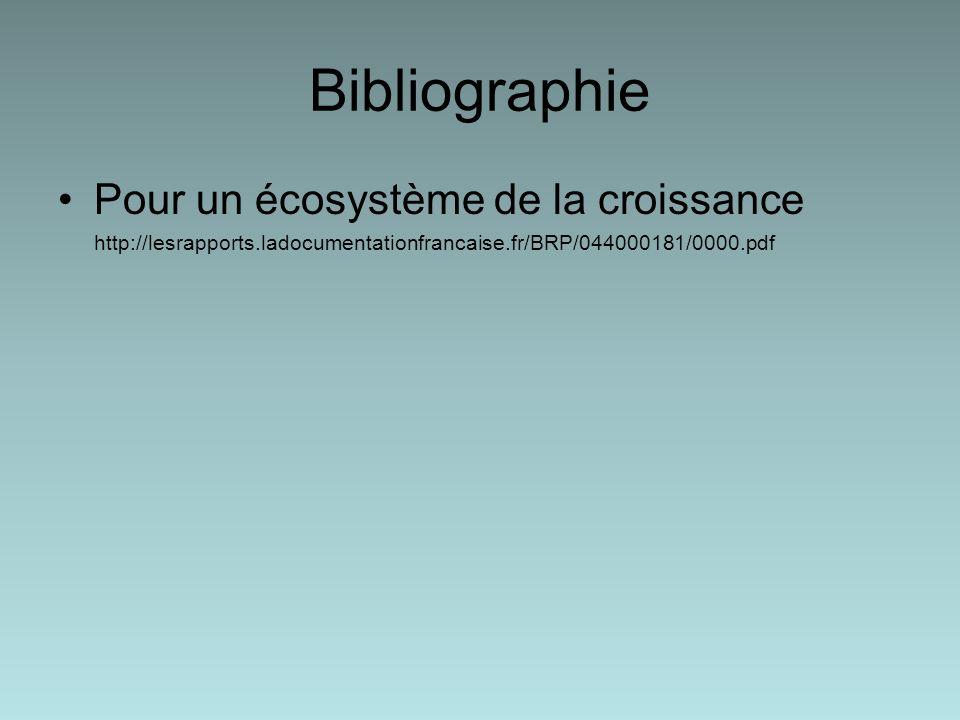 Bibliographie Pour un écosystème de la croissance