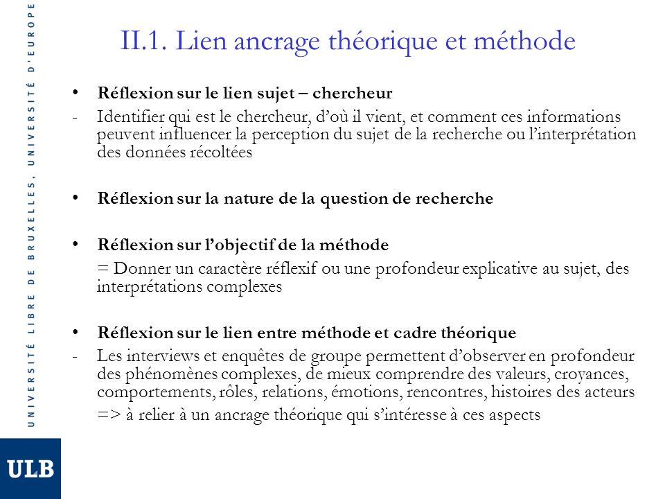 II.1. Lien ancrage théorique et méthode