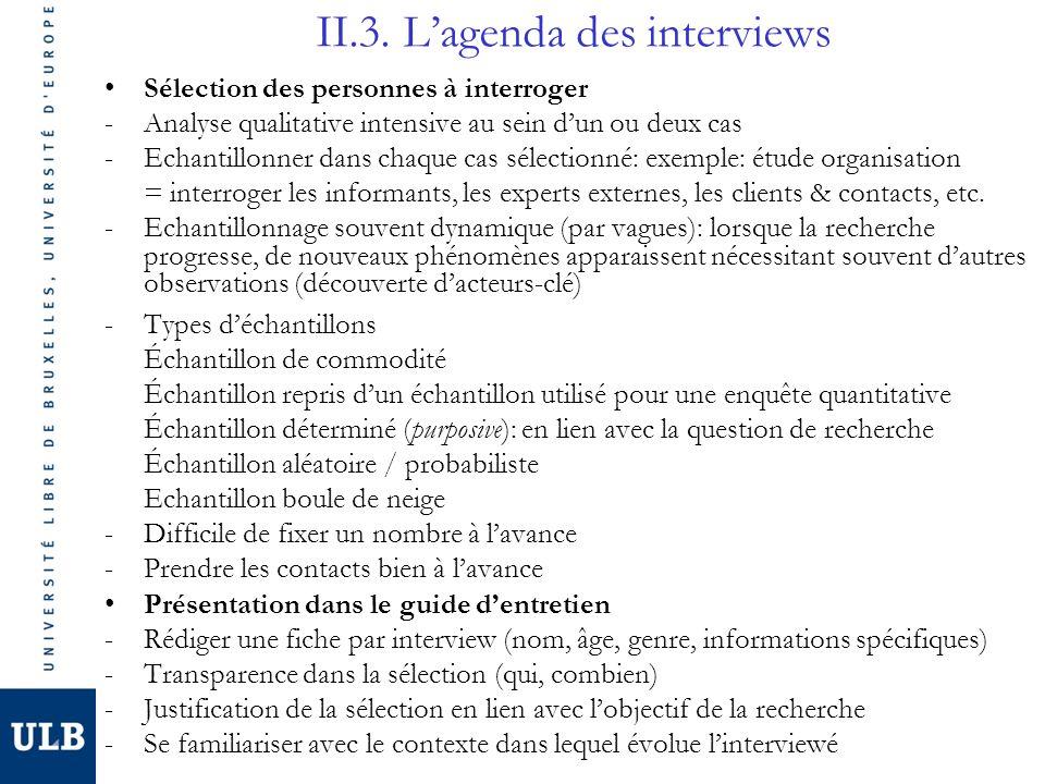 II.3. L'agenda des interviews