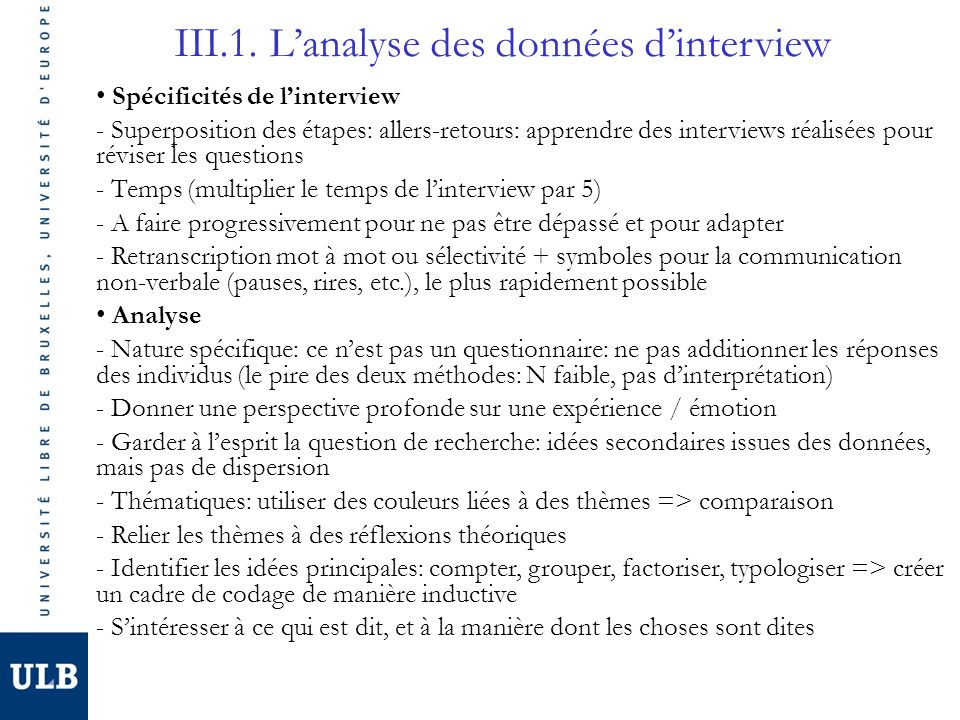 III.1. L'analyse des données d'interview