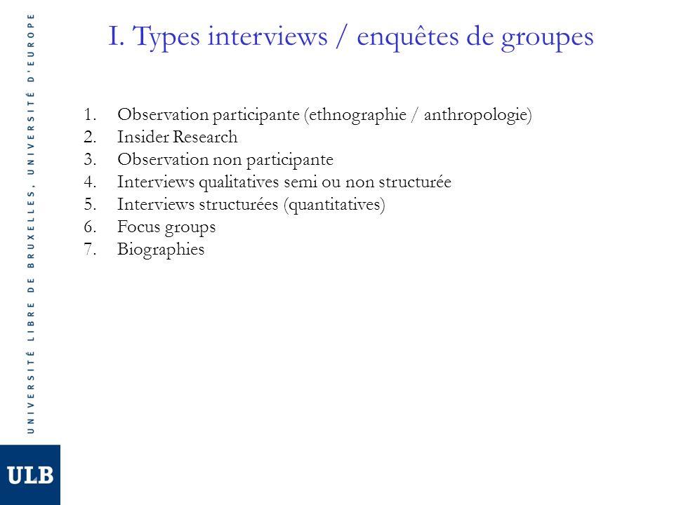 I. Types interviews / enquêtes de groupes