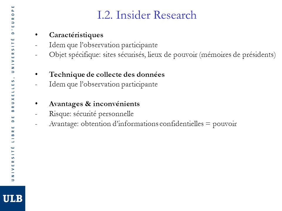 I.2. Insider Research Caractéristiques