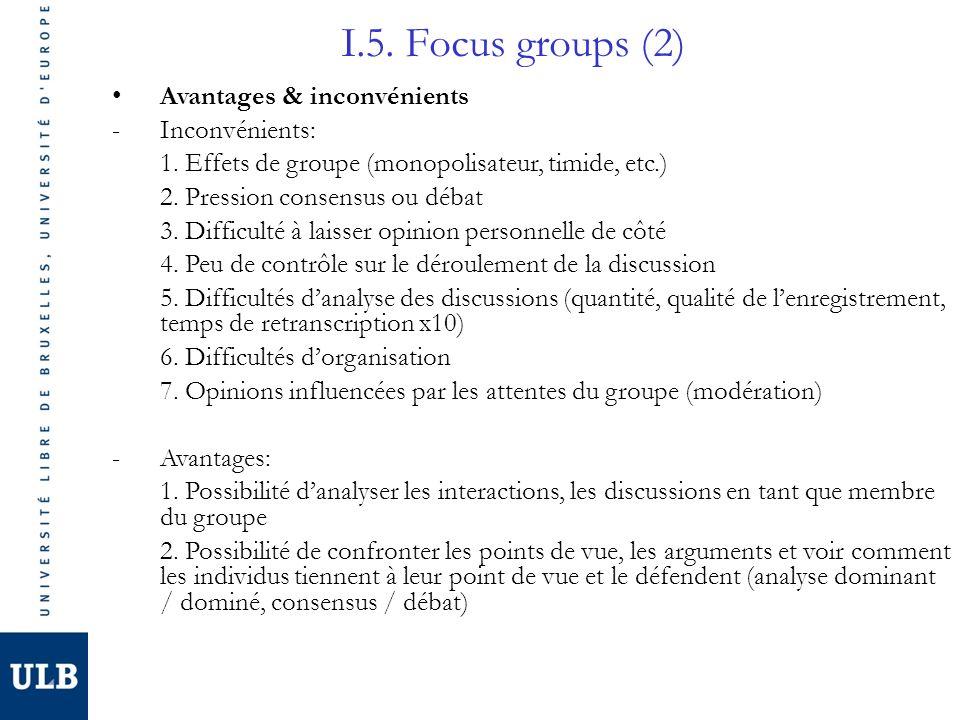 I.5. Focus groups (2) Avantages & inconvénients Inconvénients: