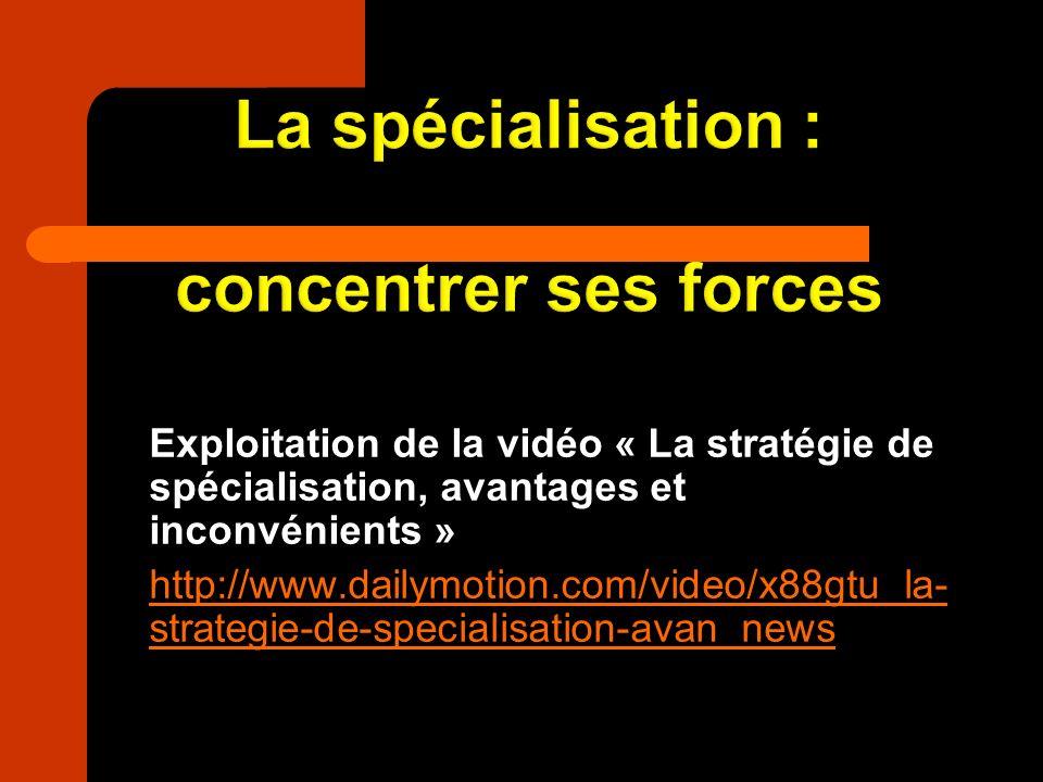 La spécialisation : concentrer ses forces