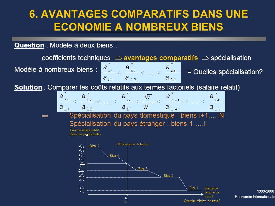 6. AVANTAGES COMPARATIFS DANS UNE ECONOMIE A NOMBREUX BIENS
