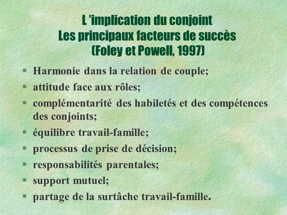 L 'implication du conjoint Les principaux facteurs de succès (Foley et Powell, 1997)