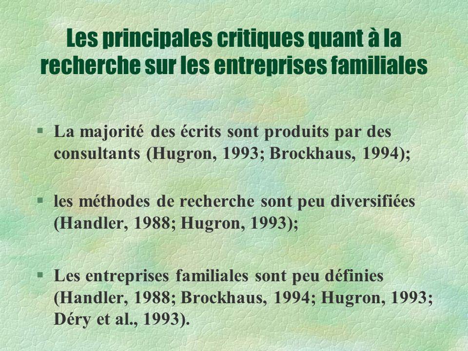 Les principales critiques quant à la recherche sur les entreprises familiales