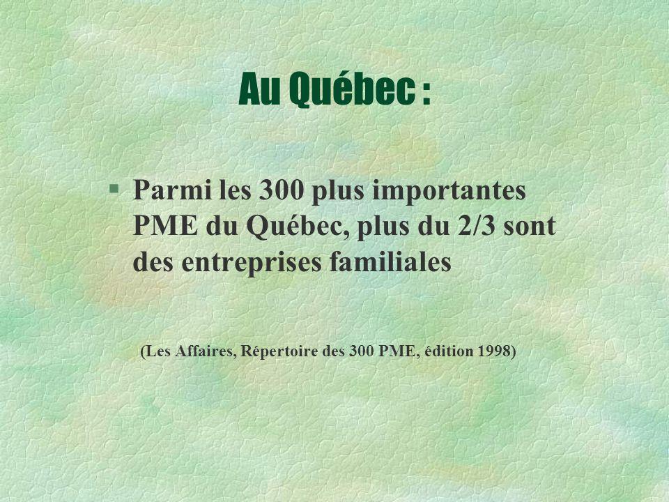 Au Québec : Parmi les 300 plus importantes PME du Québec, plus du 2/3 sont des entreprises familiales.