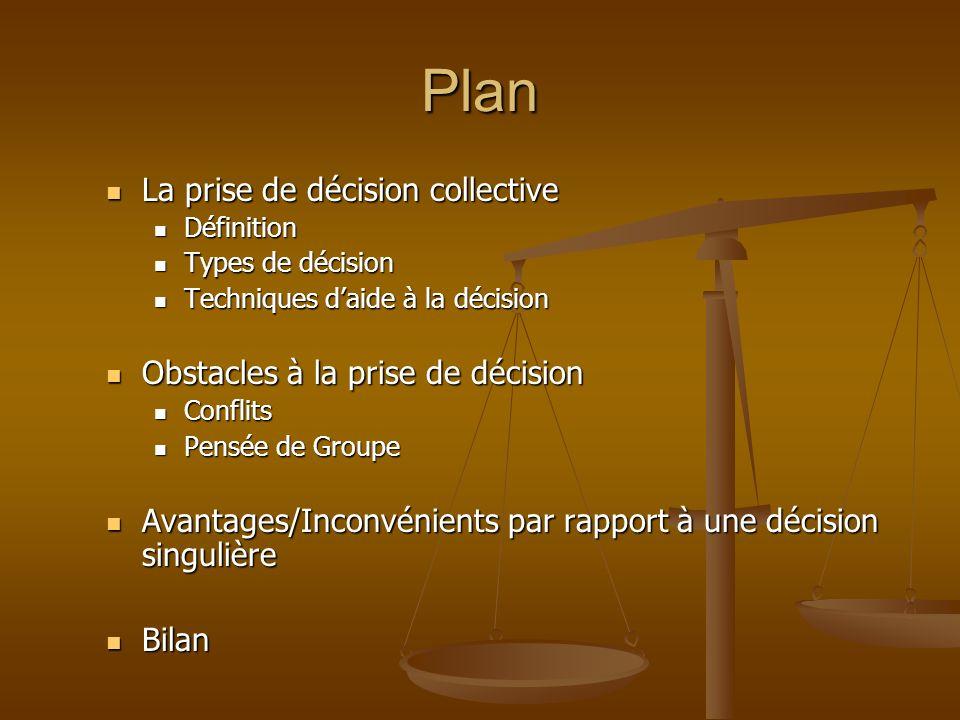 Plan La prise de décision collective Obstacles à la prise de décision