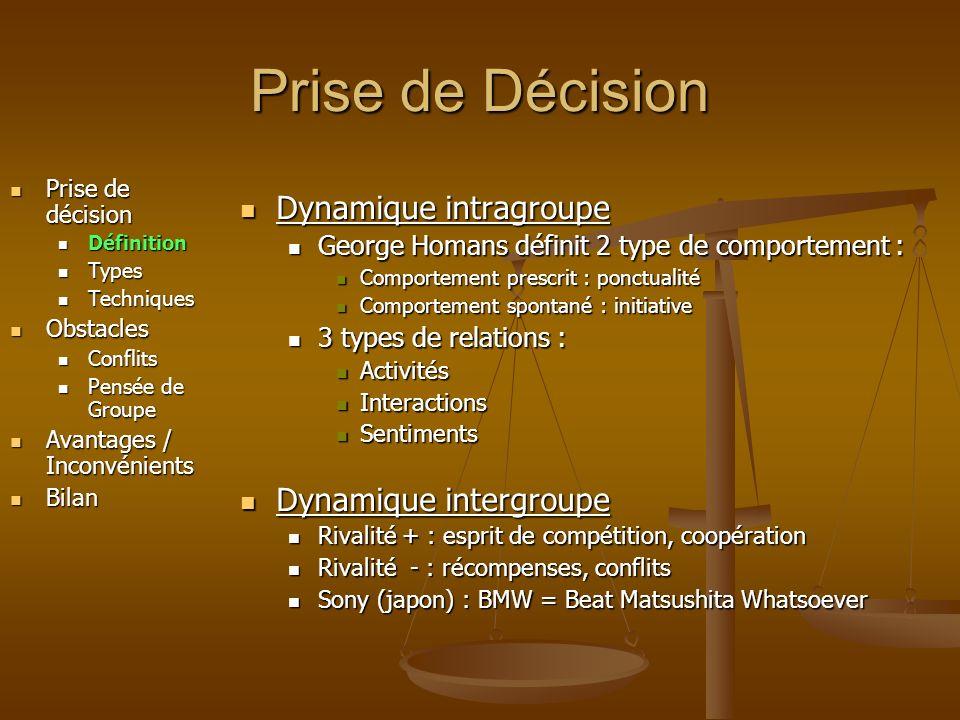 Prise de Décision Dynamique intragroupe Dynamique intergroupe