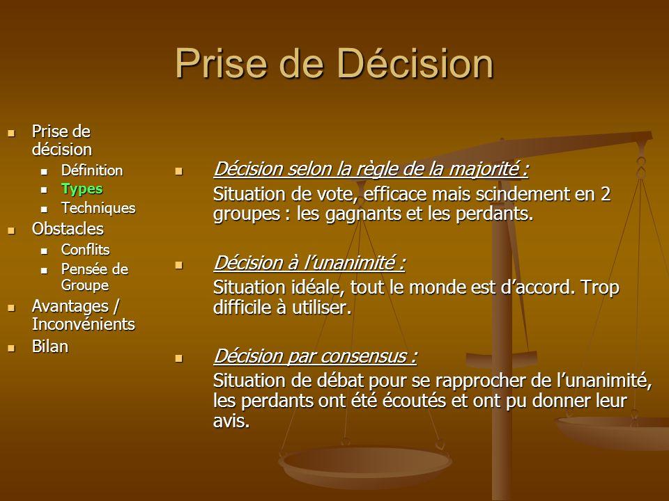 Prise de Décision Décision selon la règle de la majorité :