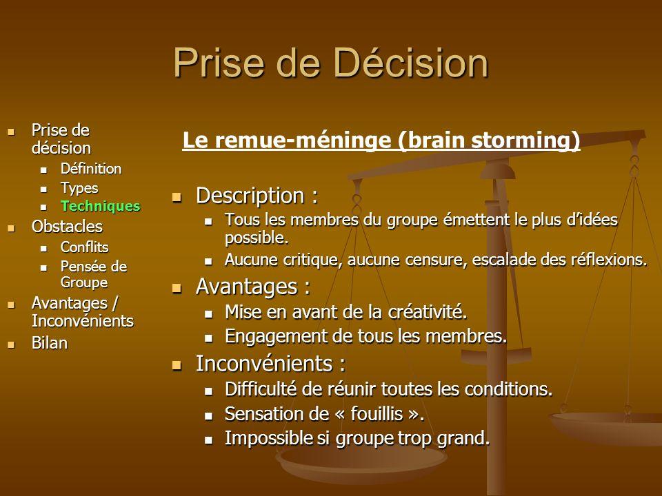 Prise de Décision Le remue-méninge (brain storming) Description :