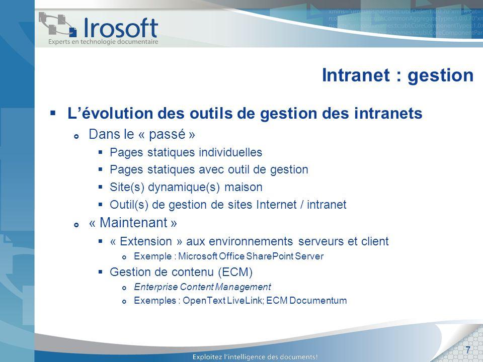 Intranet : gestion L'évolution des outils de gestion des intranets