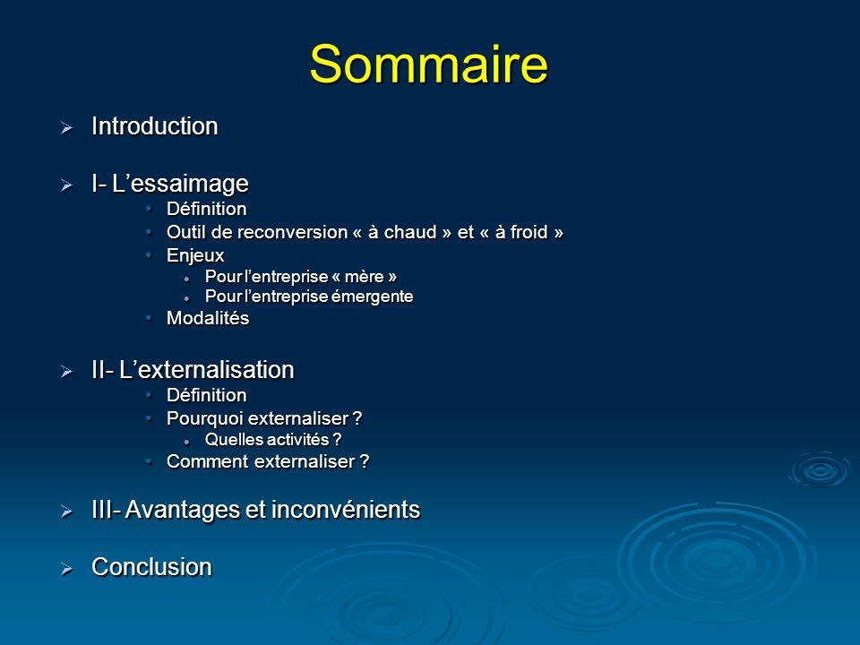 Sommaire Introduction I- L'essaimage II- L'externalisation