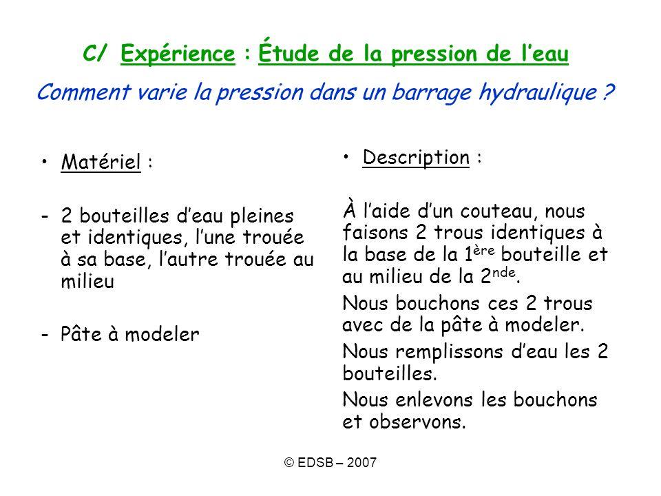 C/ Expérience : Étude de la pression de l'eau Comment varie la pression dans un barrage hydraulique