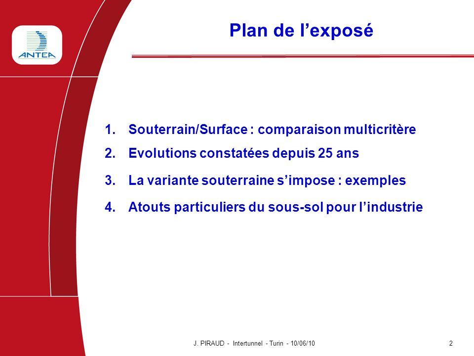 Plan de l'exposé Souterrain/Surface : comparaison multicritère