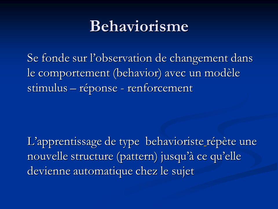 Behaviorisme Se fonde sur l'observation de changement dans le comportement (behavior) avec un modèle stimulus – réponse - renforcement.