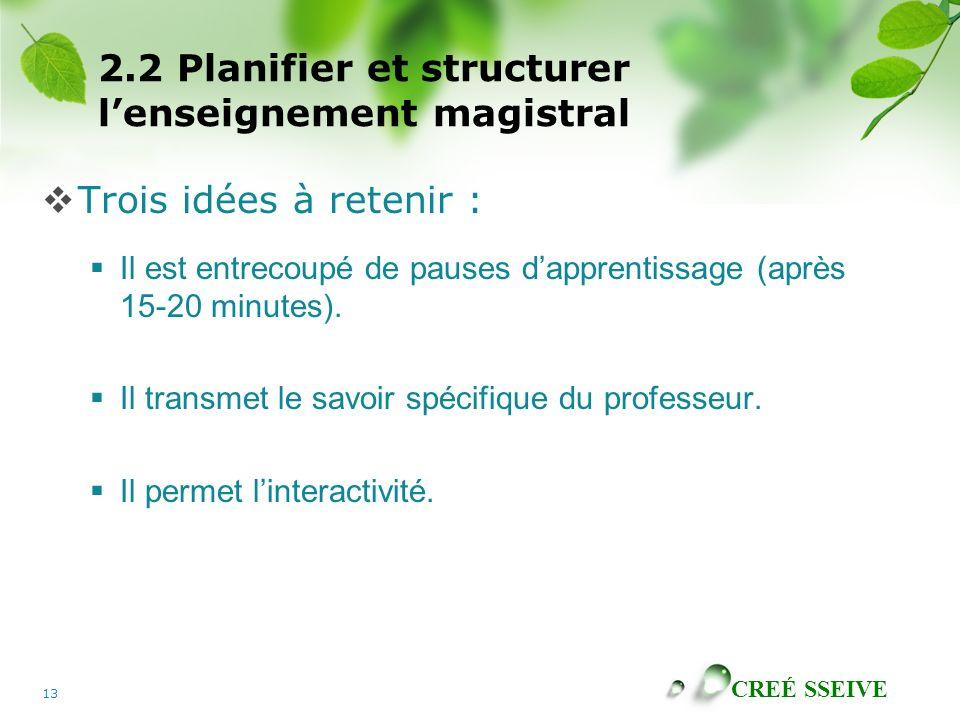 2.2 Planifier et structurer l'enseignement magistral