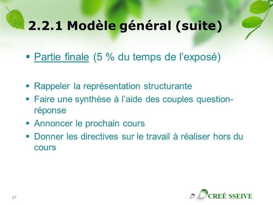2.2.1 Modèle général (suite)