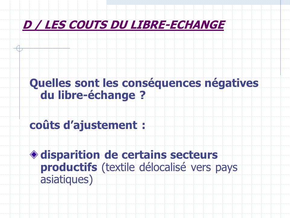 D / LES COUTS DU LIBRE-ECHANGE